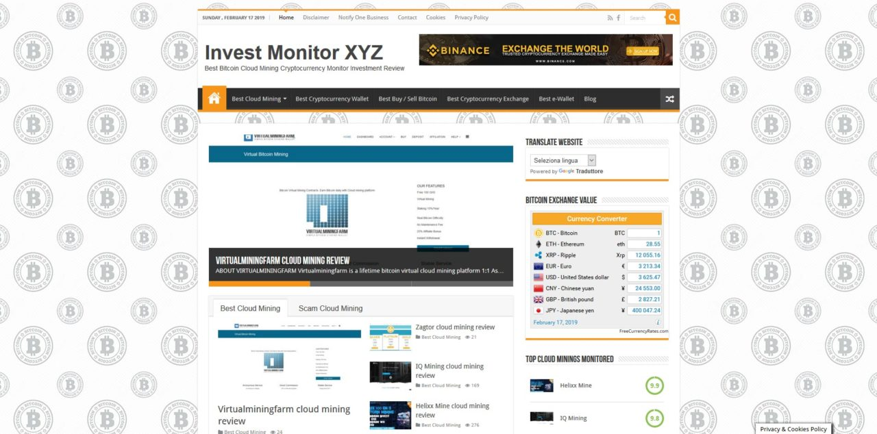 Invest Monitor XYZ » Best Bitcoin Cloud Mining Review